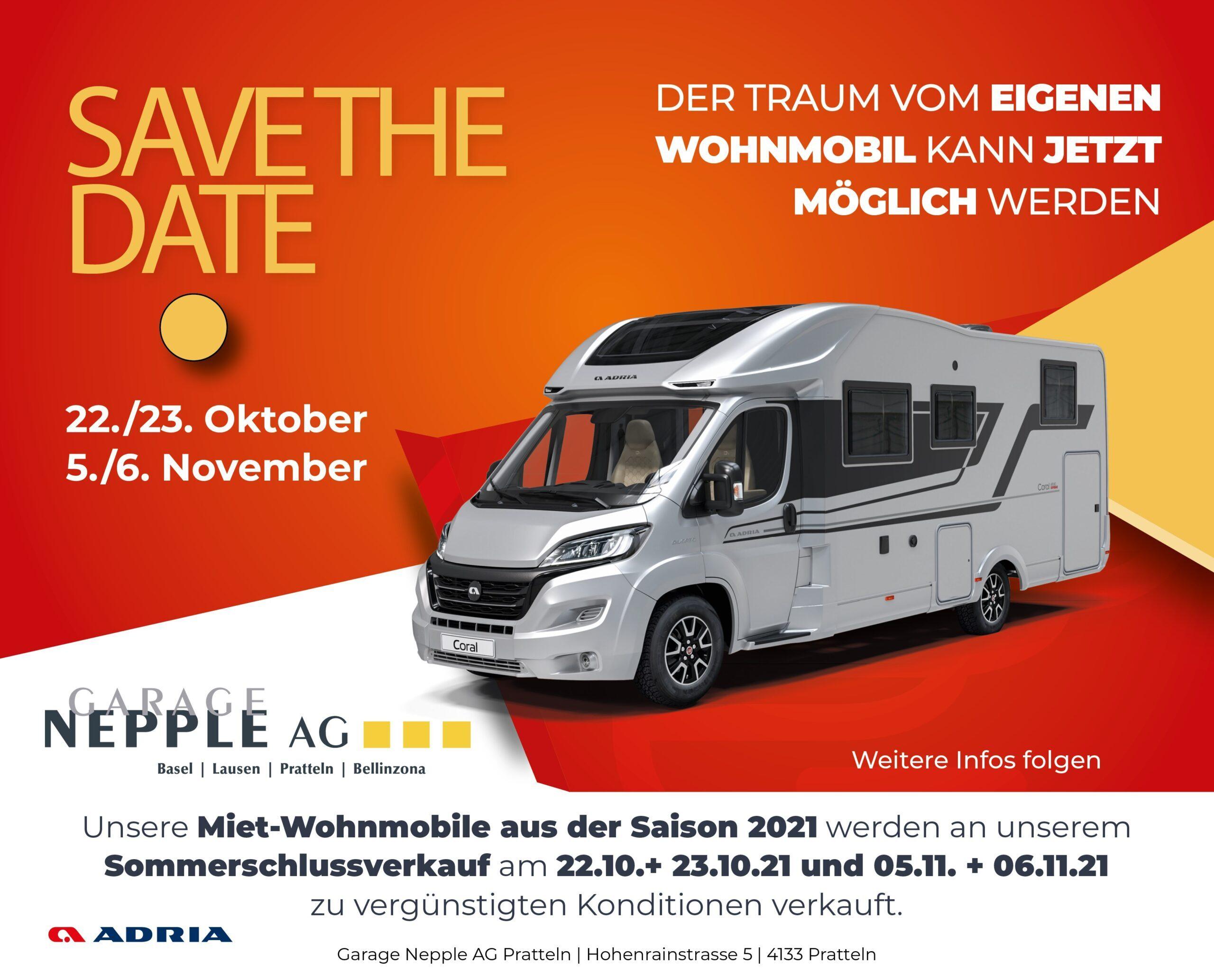 Save the date - Sommerschlussverkauf Wohnmobile